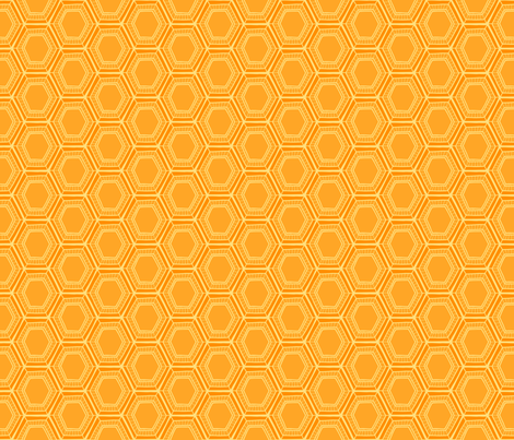 Yellow Honeycomb Floral fabric by nikijin on Spoonflower - custom fabric