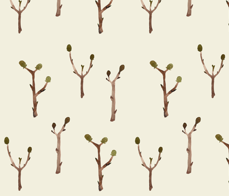 twigs natural fabric by gollybard on Spoonflower - custom fabric
