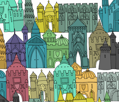 castle avenue day extra large fabric by scrummy on Spoonflower - custom fabric