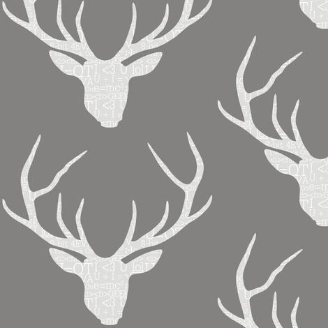 Deerhead Geeky Grey fabric by smuk on Spoonflower - custom fabric