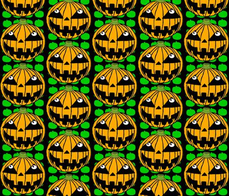 White-Eyed Pumpkin Jack O' Lantern fabric by amy_g on Spoonflower - custom fabric