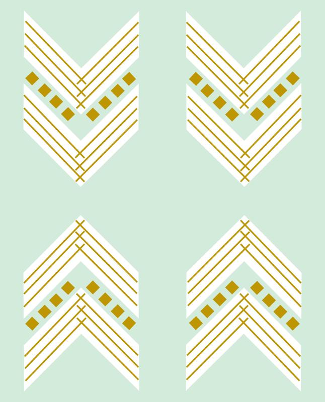 Mint Gold Chevron Large Wallpaper