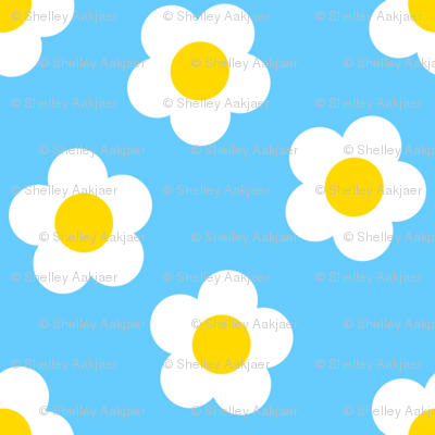 Scattered Daisies - Blue