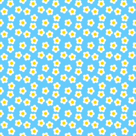 Scattered Daisies - Blue fabric by shelleymade on Spoonflower - custom fabric