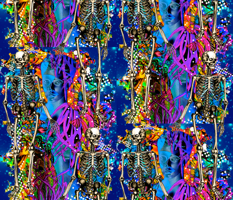 Ghost and Skeletons Midnight Ramble fabric by whimzwhirled on Spoonflower - custom fabric