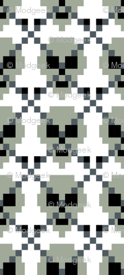 Pixel Ghost Grey Skull Argyle