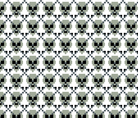 Pixel Ghost Grey Skull Argyle fabric by modgeek on Spoonflower - custom fabric