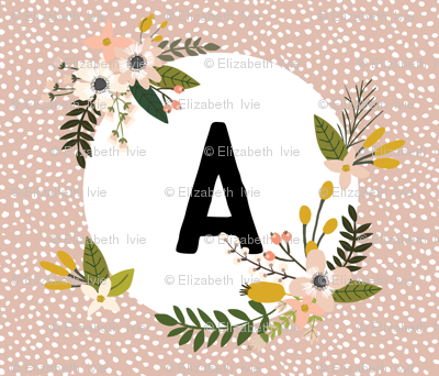 Blush Sprigs and Blooms Monogram Blanket // A