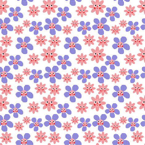 Gingham Flowers fabric by heidikenney on Spoonflower - custom fabric