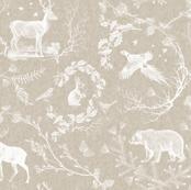 Woodland winter Toile (Beige Linen)
