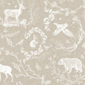 Woodland winter Toile (Beige Linen)
