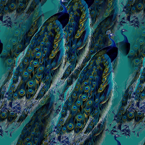 Peacocks Dark fabric by 13moons_design on Spoonflower - custom fabric
