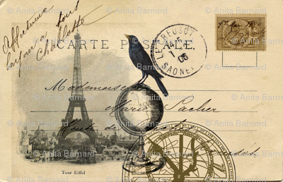 My Travels to Paris Postcard