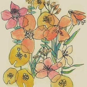 Contour Watercolor Flowers