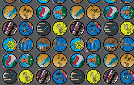 Earth Science Badges - Side fabric by iliketodraw on Spoonflower - custom fabric