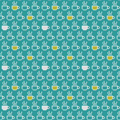 8-bit Coffee Blues fabric by ebygomm on Spoonflower - custom fabric