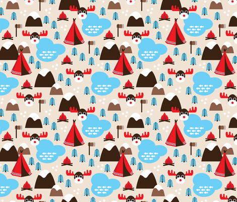 Winter wonderland moose fabric by littlesmilemakers on Spoonflower - custom fabric