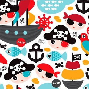 Pirate ship and parrot saling boat adventure theme for boys