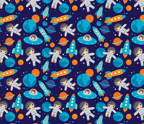 Astronaut outer space rocket fabric by littlesmilemakers on Spoonflower - custom fabric