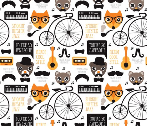 Cool Fox Hipster Jazz Music Instruments Illustration Animals And