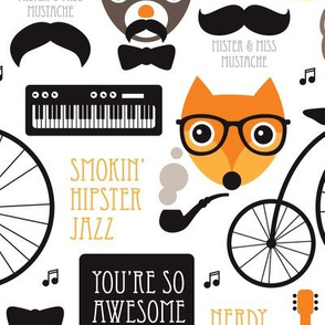 Cool fox hipster jazz music instruments illustration animals and mustache