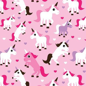 Pink unicorn horse love pink girls fabric