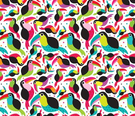 Tropical summer kids brazil tucan illustration birds design  fabric by littlesmilemakers on Spoonflower - custom fabric