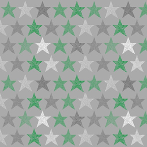 Patterned stars green grey and white on grey
