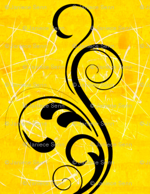 The big black swirl on sunshine yellow