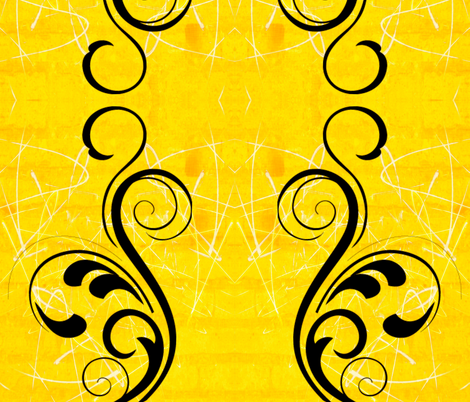 The big black swirl on sunshine yellow fabric by whimzwhirled on Spoonflower - custom fabric