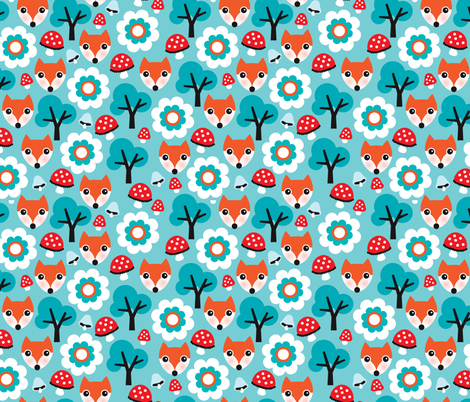 Cute retro fox fall mushroom woodland illustration fabric for kids fabric by littlesmilemakers on Spoonflower - custom fabric