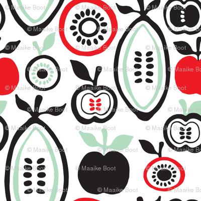 Retro fruit organic garden apples pears  illustration