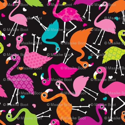Flamingo summer colorful tropical birds retro girls print black