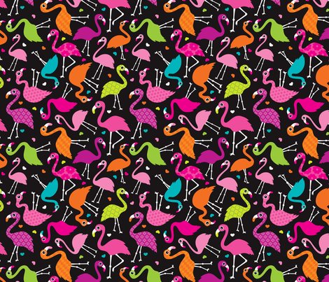 Flamingo summer colorful tropical birds retro girls print black fabric by littlesmilemakers on Spoonflower - custom fabric