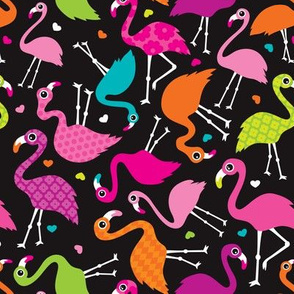 Flamingo summer colorful tropical birds retro girls print black