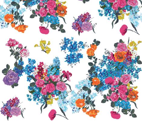 bouquet on white - custom palette fabric by katarina on Spoonflower - custom fabric