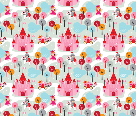 Princess and white horses dream fabric by littlesmilemakers on Spoonflower - custom fabric