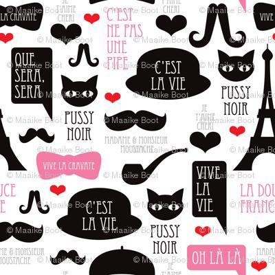 Oh La La French Paris Theme Hipster Illustration Fabric