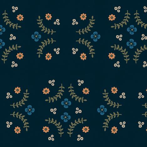Navy Ferns and Flowers V.2 fabric by calamaristudio on Spoonflower - custom fabric