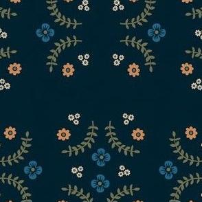 Navy Ferns and Flowers V.2
