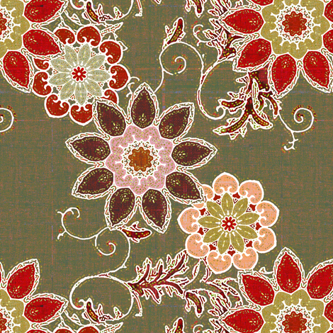 Frosted Floral in earth tones fabric by joanmclemore on Spoonflower - custom fabric