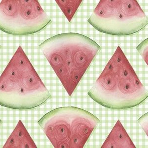 Watermelon on green gingham