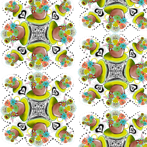 Teacup with Flowers & hearts fabric by amy_g on Spoonflower - custom fabric