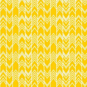 Gold Yellow Ikat - Chevron Herringbone