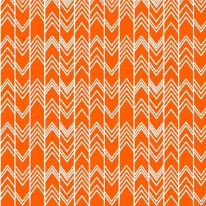 Fall Orange Ikat Ziggy - Orange Chevron Herringbone