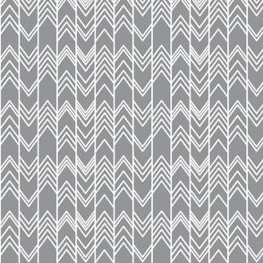 Grey Ikat Ziggy - Grey Chevron Herringbone