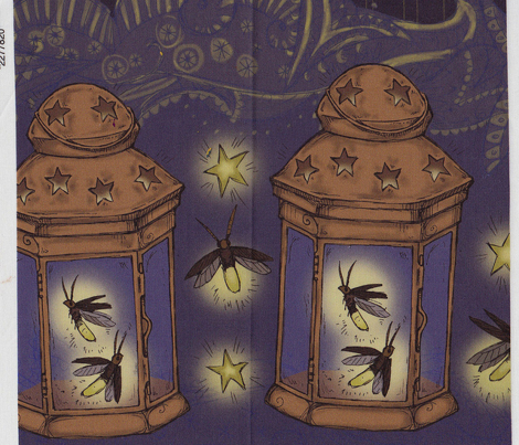Firefly Lanterns Border Print