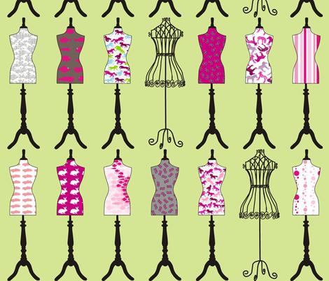 Sew Pretty Mossy Pink fabric by pennyroyal on Spoonflower - custom fabric
