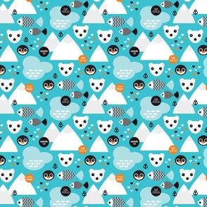 Penguin and polar bear arctic illustration winter design for kids