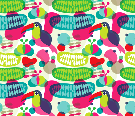 Retro Brazil theme jungle toucan bird paradise fabric by littlesmilemakers on Spoonflower - custom fabric